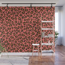 Coral and Brown Leopard Print - Living Coral design Wall Mural