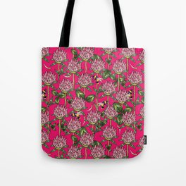 Red clover pattern Tote Bag