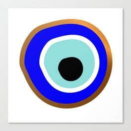Grecian Gold evil eye in blue on white Canvas Print