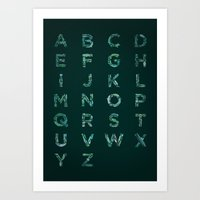 font Art Prints featuring Fishes Font by Matteo Brogi