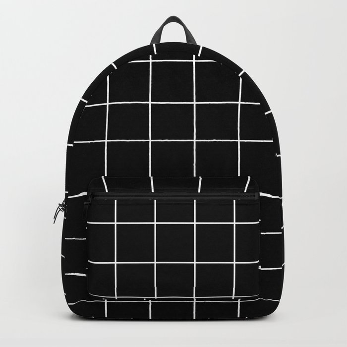 Grid Simple Line Black Minimalist Backpack