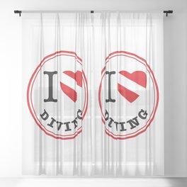 I Love Diving Sheer Curtain