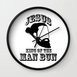 Jesus King of The Man Bun Wall Clock