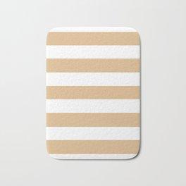 Burlywood - solid color - white stripes pattern Bath Mat