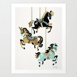 Carousel Horses – Mint & Gold Palette Art Print
