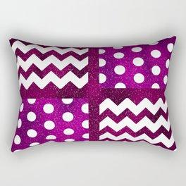 Galaxy Chevron/Polka Dot Space Purple Fuchsia Violet Color Dark Rectangular Pillow