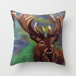 The Stag, Gentle & Powerful Throw Pillow