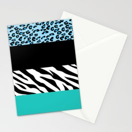 Animal Print, Zebra Stripes, Leopard Spots - Blue Stationery Cards