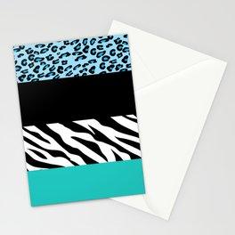 Animal Print, Zebra Stripes, Leopard Spots - Blue Stationery Cards