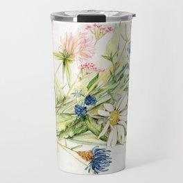 Bouquet of Wildflowers Original Colored Pencil Drawing Travel Mug