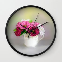 Cup of Flowers Wall Clock