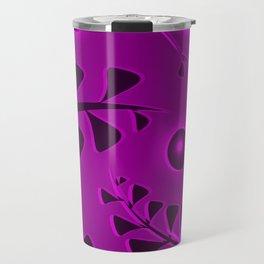 Pattern black lilac vegetative elements violet luminous ethnic style. Travel Mug
