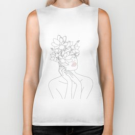 Minimal Line Art Woman with Magnolia Biker Tank