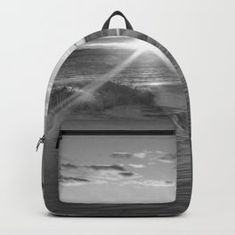 Ghosts of Watch Hill, Rhode Island coastal sunset black and white photograph / art photography Backpack