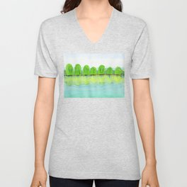 Trees Refecting On The Water Unisex V-Neck