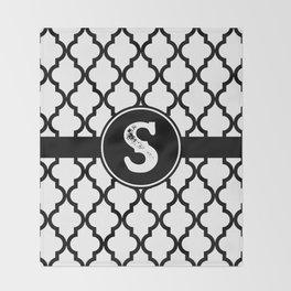 Black Monogram: Letter S Throw Blanket