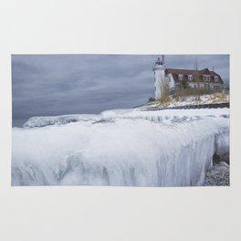 Point Betsie Lighthouse in Winter Rug