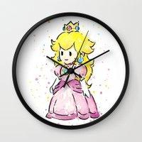 princess peach Wall Clocks featuring Princess Peach by Olechka