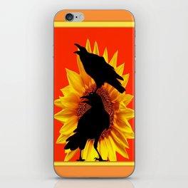 Orange-Yellow Sunflower Crows Whimsey iPhone Skin