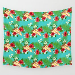 Hawaiian Pizza in a Hawaiian Print Wall Tapestry