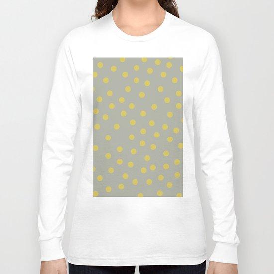 Simply Dots Mod Yellow on Retro Gray Long Sleeve T-shirt