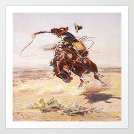 Vintage Western Cowboy Bronc Rider C.M. Russell Kunstdrucke