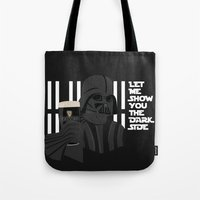 dark side Tote Bags featuring dark side by John's Michelle