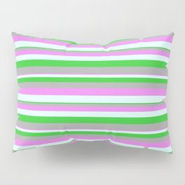 Violet, Light Cyan, Lime Green, and Dark Grey Colored Lines/Stripes Pattern Pillow Sham
