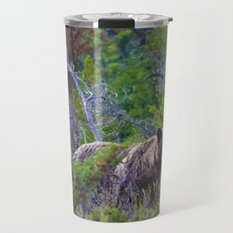 Grizzly mother watches over the area as her young cubs play nearby Travel Mug