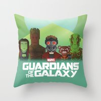guardians of the galaxy Throw Pillows featuring Guardians of the Galaxy by Casa del Kables
