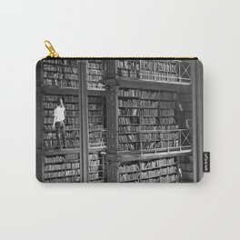 A book lovers dream - Cast-iron Book Alcoves Cincinnati Library black and white photography Carry-All Pouch