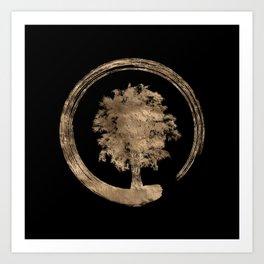 Enso Zen Circle and Tree - Gold on black Art Print