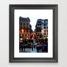 Rain in Rome in Colour Framed Art Print