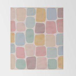 Minimal Blocks - Pastel Rainbow Throw Blanket