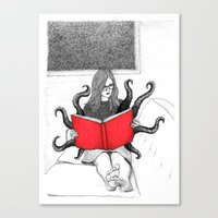 reading Canvas Prints featuring Reading by stardixa
