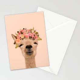 Alpaca with flower crown Print, Alpaca Wall Art, Modern Minimal, original art, art print Stationery Cards