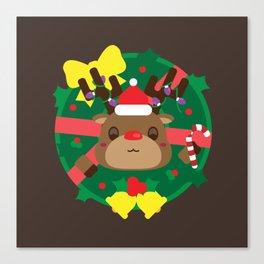 Reindeer Wreath Mischief Canvas Print