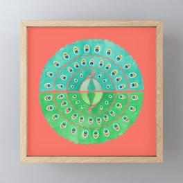 Watercolor peacock - green Framed Mini Art Print