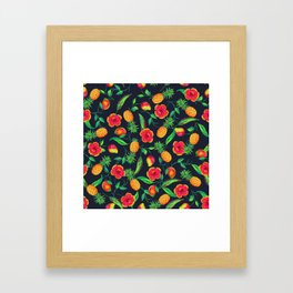 Tropical fruit and flowers Framed Art Print