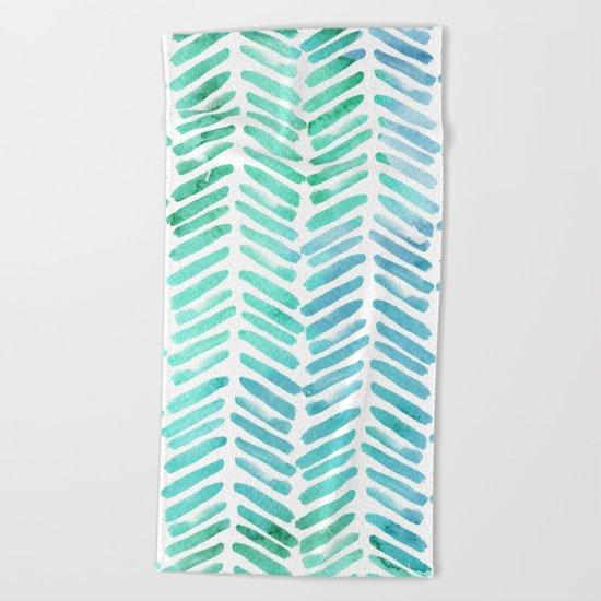 Handpainted Chevron pattern - light green and aqua - stripes Beach Towel