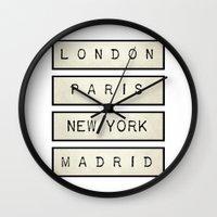 calendars Wall Clocks featuring London | Paris | New York | Madrid by Shabby Studios Design & Illustrations ..
