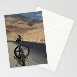 Mountain Biking down from Khardung La Stationery Cards