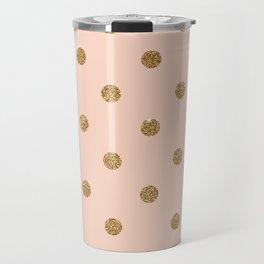 Bisque Gold Glitter Dot Pattern Travel Mug