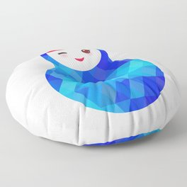 wink Russian doll matryoshka with bright rhombus on white background, blue colors Floor Pillow