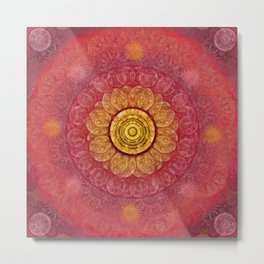 """Strawberry pink shades & Gold Mandala (pattern)"" Metal Print"