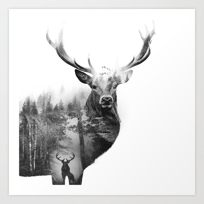 Deer In The Woods Art Print By Yazdesigns Society6