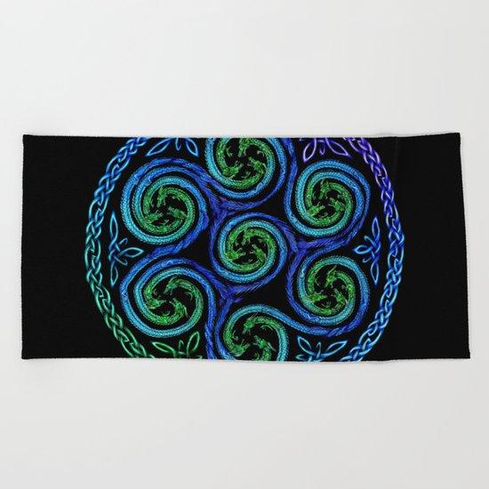 Dragon Seven Spirals Mandala Beach Towel