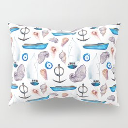 Modern hand painted pink blue watercolor nautical pattern Pillow Sham