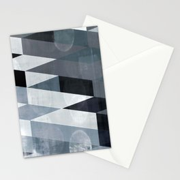 blue abstract, abstract art, office art, contemporary art, geometric print, modern painting, mid cen Stationery Cards