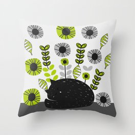 Sleepy cat and floral bouquet Throw Pillow